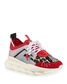 Versace Men's Animal Chain Reaction Leopard-Print Sneakers
