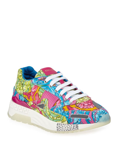 Men's Barocco-Print Canvas Runner Sneakers