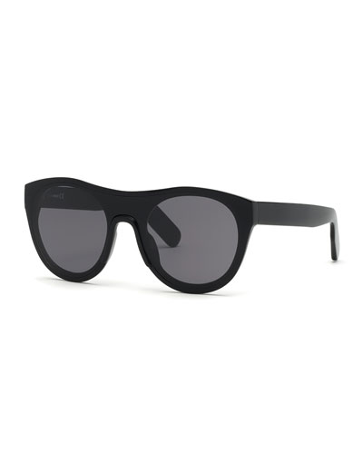 Men's Round Acetate Sunglasses, Black