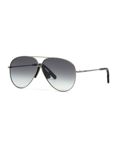 Men's Metal Aviator Sunglasses w/ Injected Plastic Trim