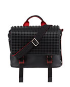 Christian Louboutin Men's Spike Leather Messenger Bag