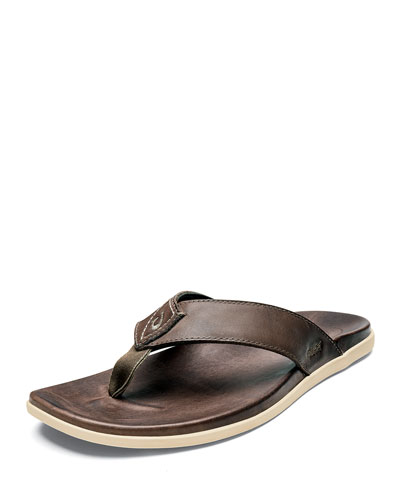 Men's Nalukai Leather Flip-Flop Sandals