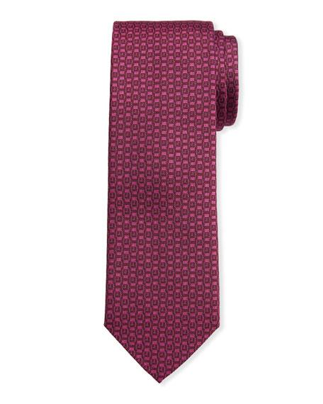 Salvatore Ferragamo Men's Ischi Silk Watches Tie, Cyclamen