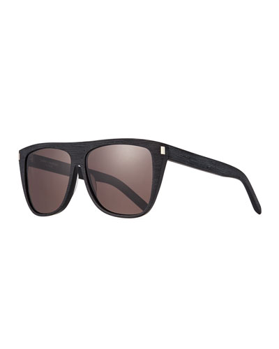 Men's Black-Pattern Rectangle Acetate Sunglasses