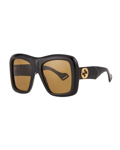 Men's GG0498S Oversized Rectangle Sunglasses