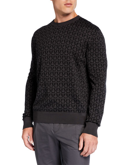Salvatore Ferragamo Men's Gancini Intarsia-Knit Sweater