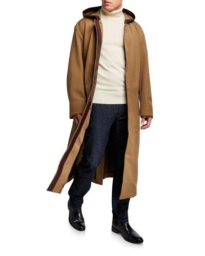 Men's Wool Zip-Front Coat w/ Leather Trim