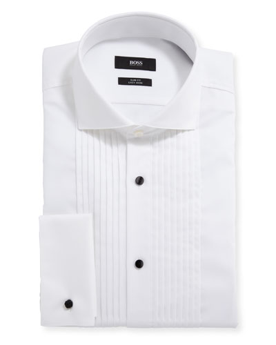 Men's Slim-Fit Easy Iron Pleated Bib Tuxedo Shirt