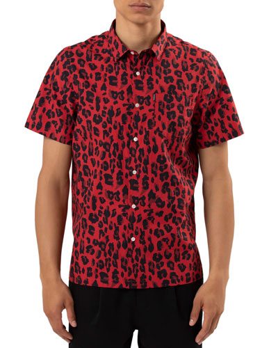 Men's Leopard-Print Woven Shirt