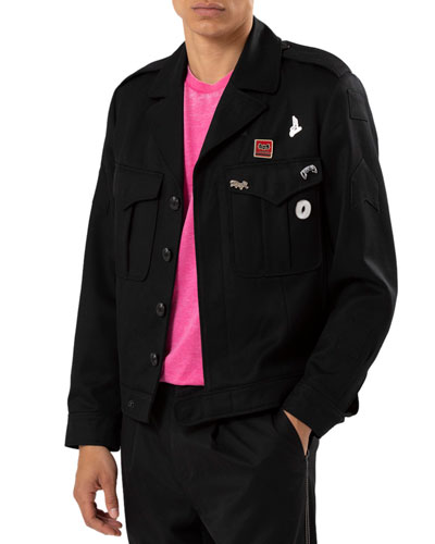 Men's Twill Button-Front Jacket with Pin Details