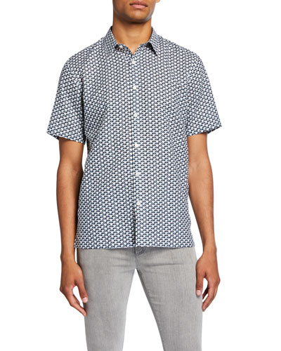 Men's Dash-Print Linen/Cotton Short-Sleeve Sport Shirt