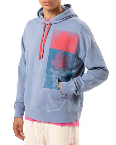 Men's Rose-Print Pullover Hoodie