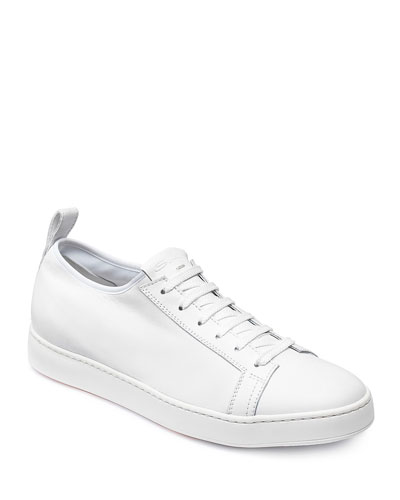 Men's Clean Iconic Stretch Leather Sneakers