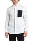 Neil Barrett Men's Nylon-Pocket Sport Shirt