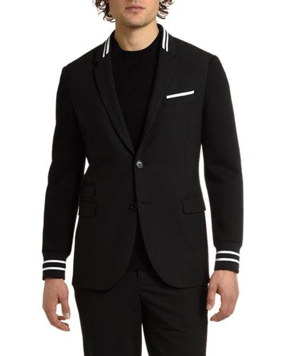 Men's Knit-Trim Two-Button Jacket