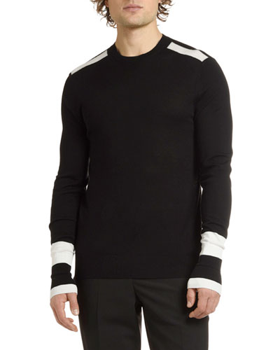 Men's Crewneck Wool Sweater with Stripes