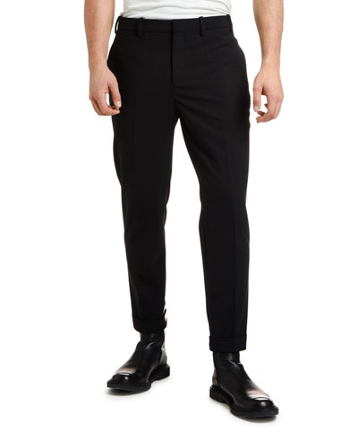 Men's Wool Trousers with Striped Hem