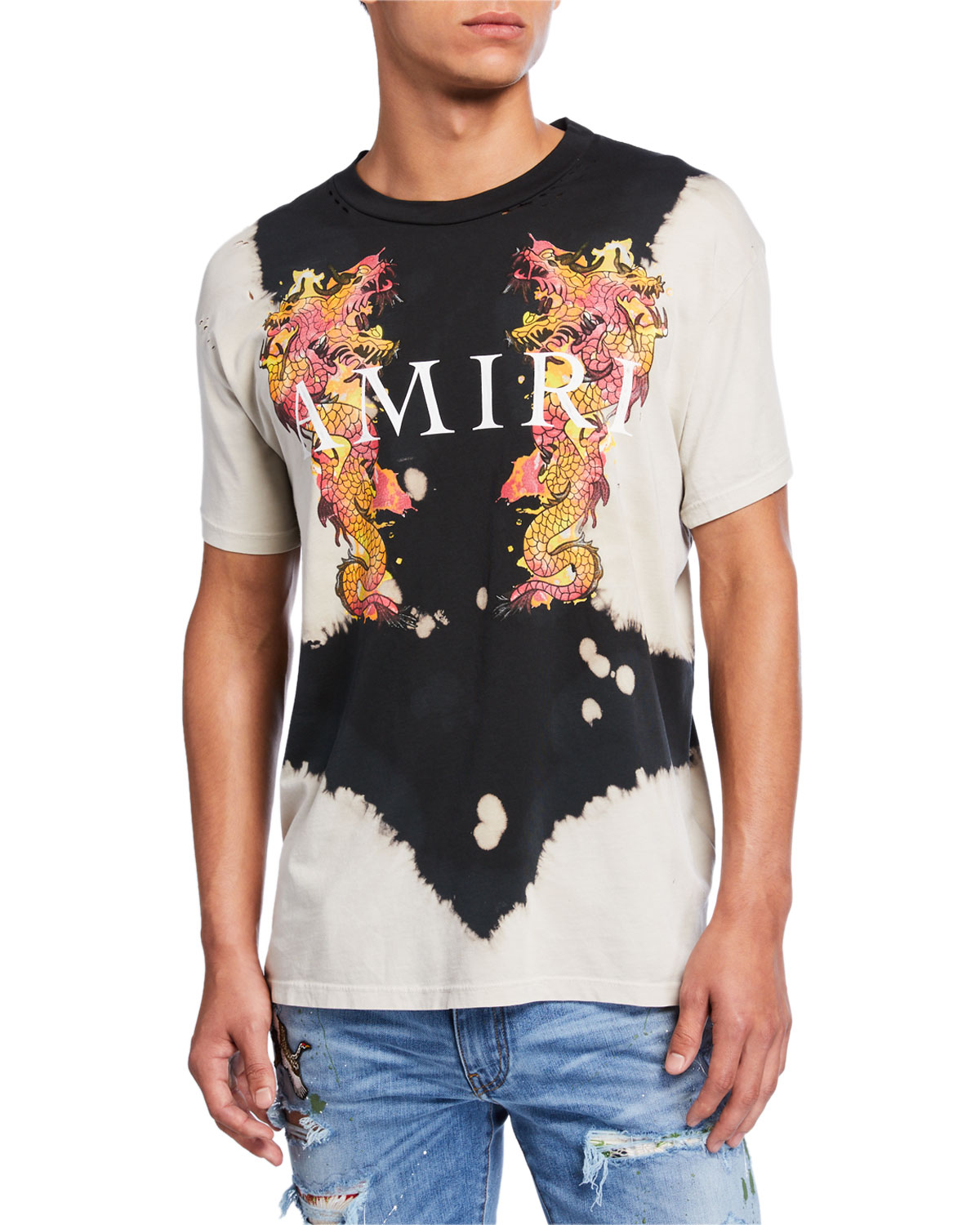 Amiri T-shirts MEN'S WATERCOLOR DRAGON T-SHIRT