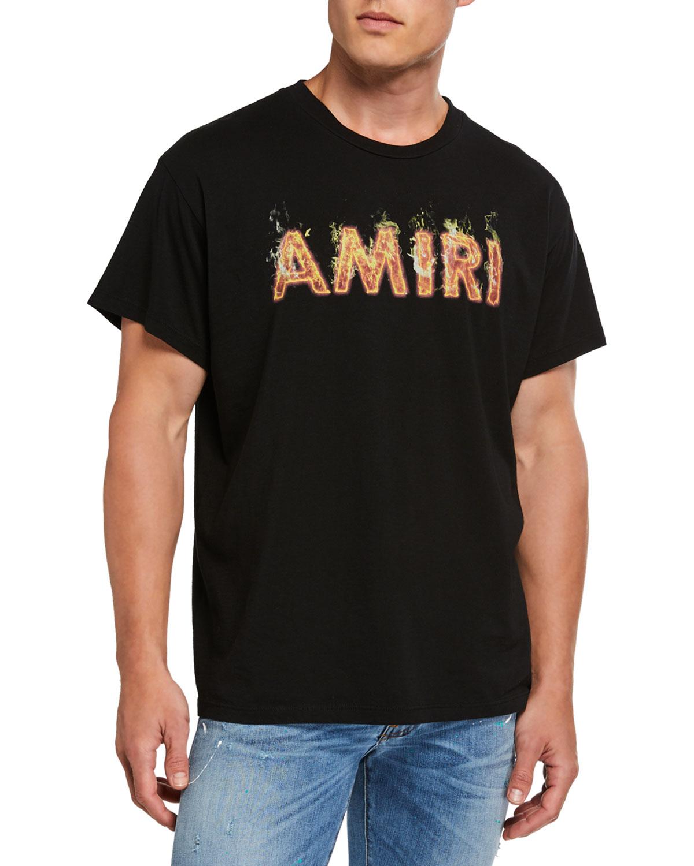 Amiri T-shirts Men's Flaming Logo Graphic T-Shirt