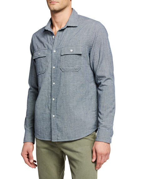 FRAME Men's Long-Sleeve Double Flap Pocket Sport Shirt