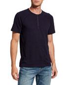 FRAME Men's Short-Sleeve Cotton Henley T-Shirt