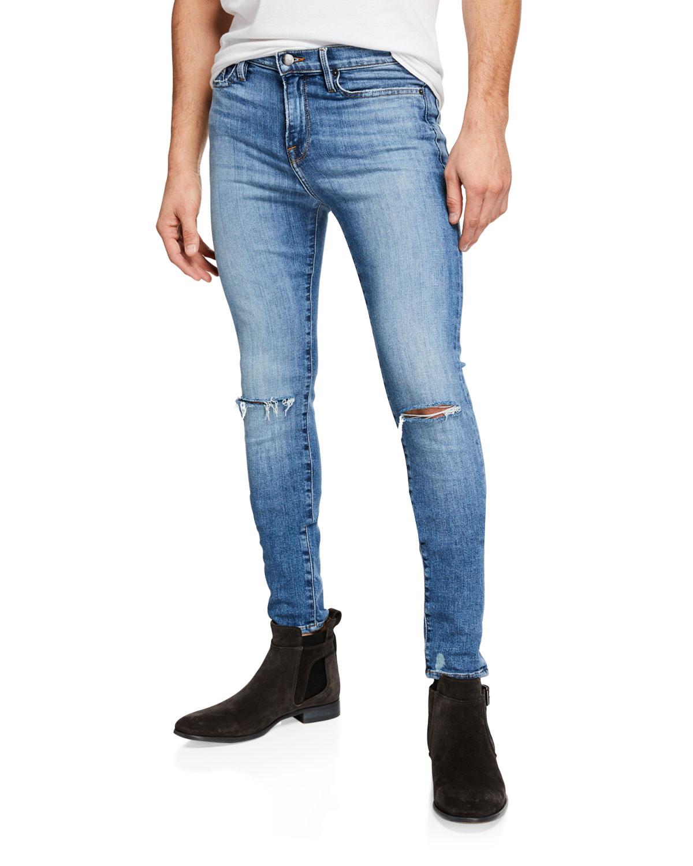 Frame Jeans MEN'S JAGGER TRUE SKINNY DISTRESSED KNEE-RIP JEANS