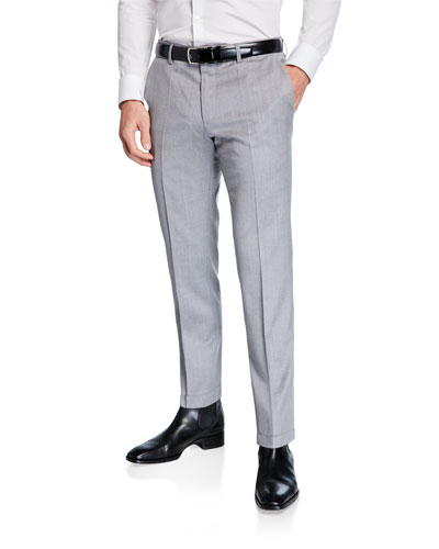 Men's Genesis Slim-Fit Wool Trousers, Light Gray