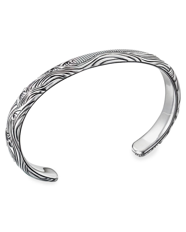 Men's Waves Silver Cuff Bracelet