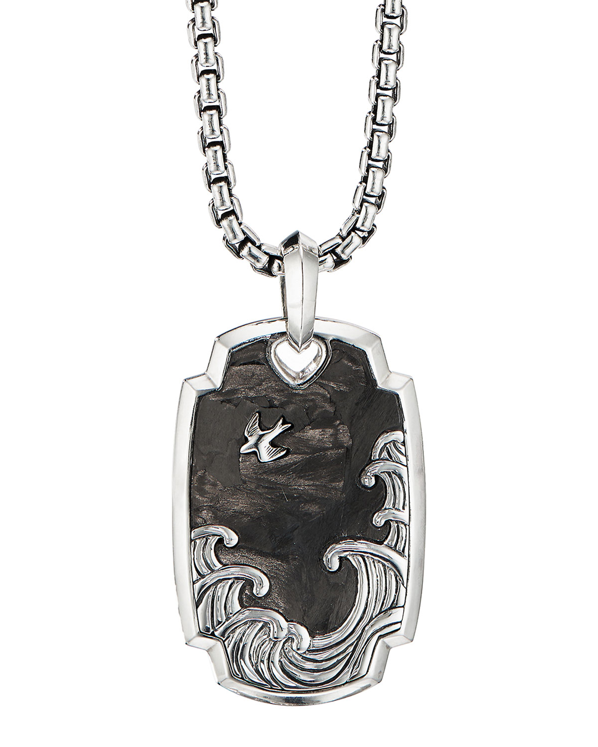 Men's Waves Pendant with Forged Carbon