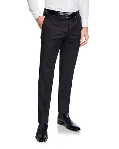 Men's Genesis Slim-Fit Wool Trousers, Black