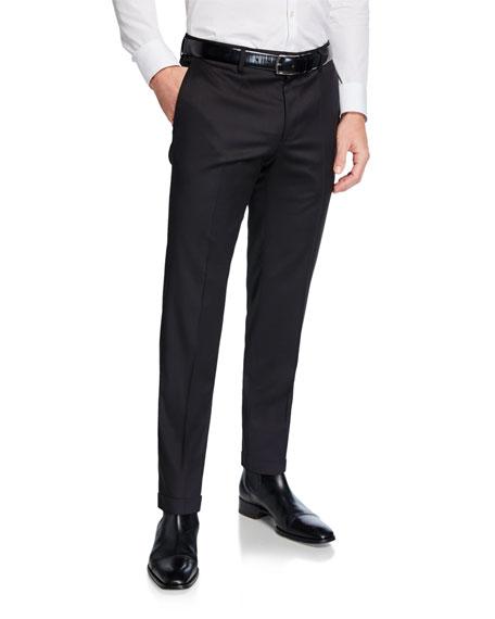 BOSS Men's Genesis Slim-Fit Wool Trousers, Black