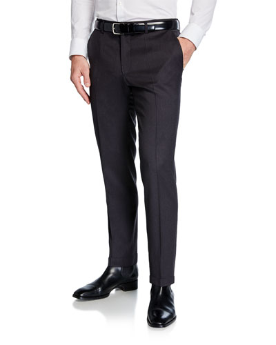 Men's Genesis Slim-Fit Wool Trousers, Medium Gray