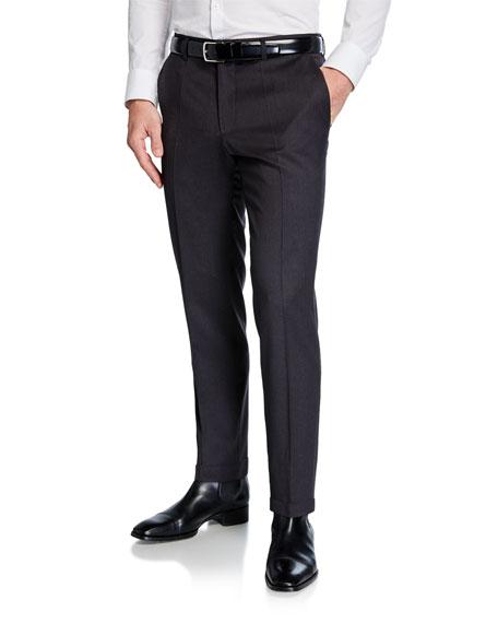 BOSS Men's Genesis Slim-Fit Wool Trousers, Medium Gray