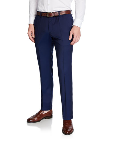 Men's Genesis Slim-Fit Wool Trousers, Dark Blue