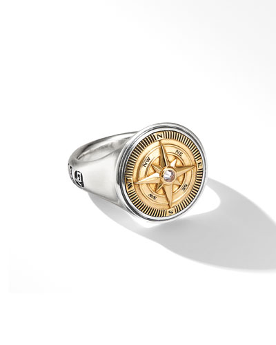 Men's Maritime Compass Signet Ring w/ Diamonds