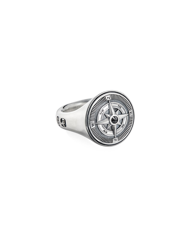 Men's Maritime Compass Signet Ring w/ Black Diamond