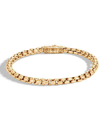 Men's Classic Chain 18K Gold 5mm Box Chain Bracelet with Pusher Clasp