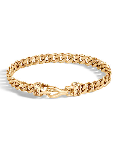 Men's Asli Classic Chain Link 18K Gold Curb Link Bracelet 8mm with Hook ...