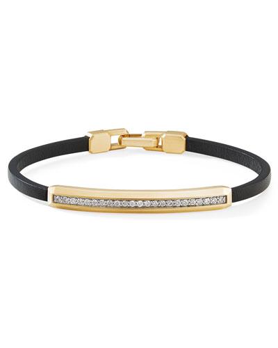 Men's 18k Yellow Gold & Leather ID Bracelet w/ Diamond Pave