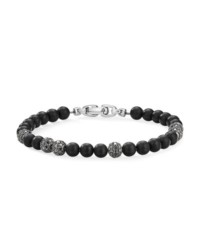 Men's Onyx & Pave Black Diamond Spiritual Bead Bracelet