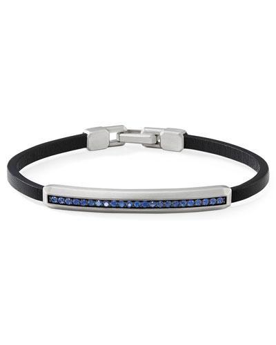 Men's Streamline Leather ID Bracelet w/ Blue Sapphires