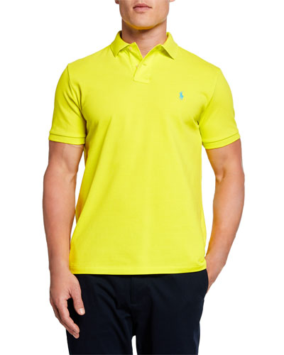 Men's Logo-Embroidered Polo Shirt, Yellow