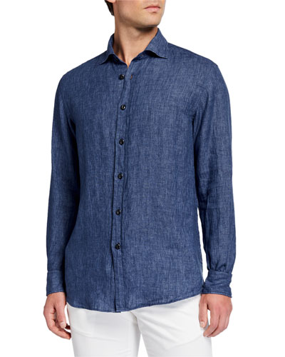 Men's Chambray Linen Sport Shirt