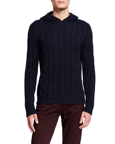 Men's Cable-Knit Cashmere Hoodie