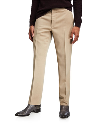Men's Flat-Front Wool Trousers