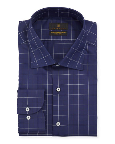 Men's Windowpane Cotton Dress Shirt