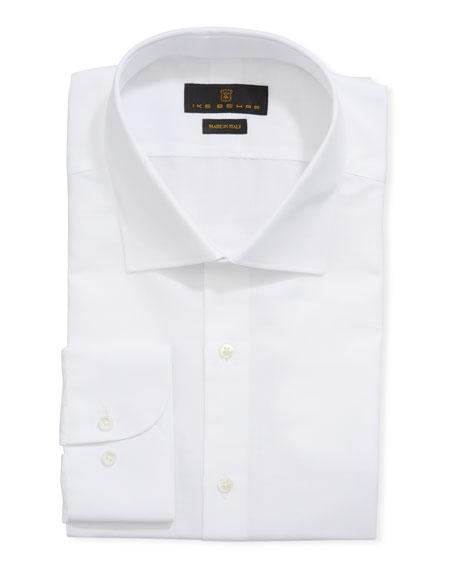 Ike Behar Men's Cotton/Linen Dress Shirt, White