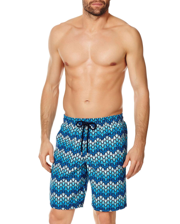 Men's Herringbone Turtle Print Swim Trunks