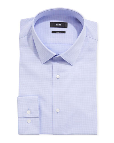 Men's Micro-Print Slim Fit Dress Shirt