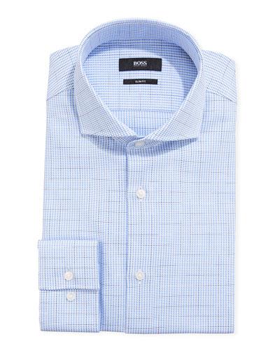 Men's Houndstooth Plaid Slim-Fit Dress Shirt